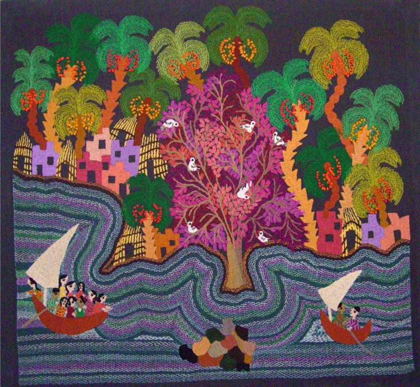 Broderie : felouques sur le Nil