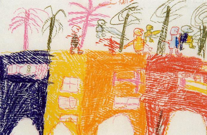 Enfants jouant sur les terrasses