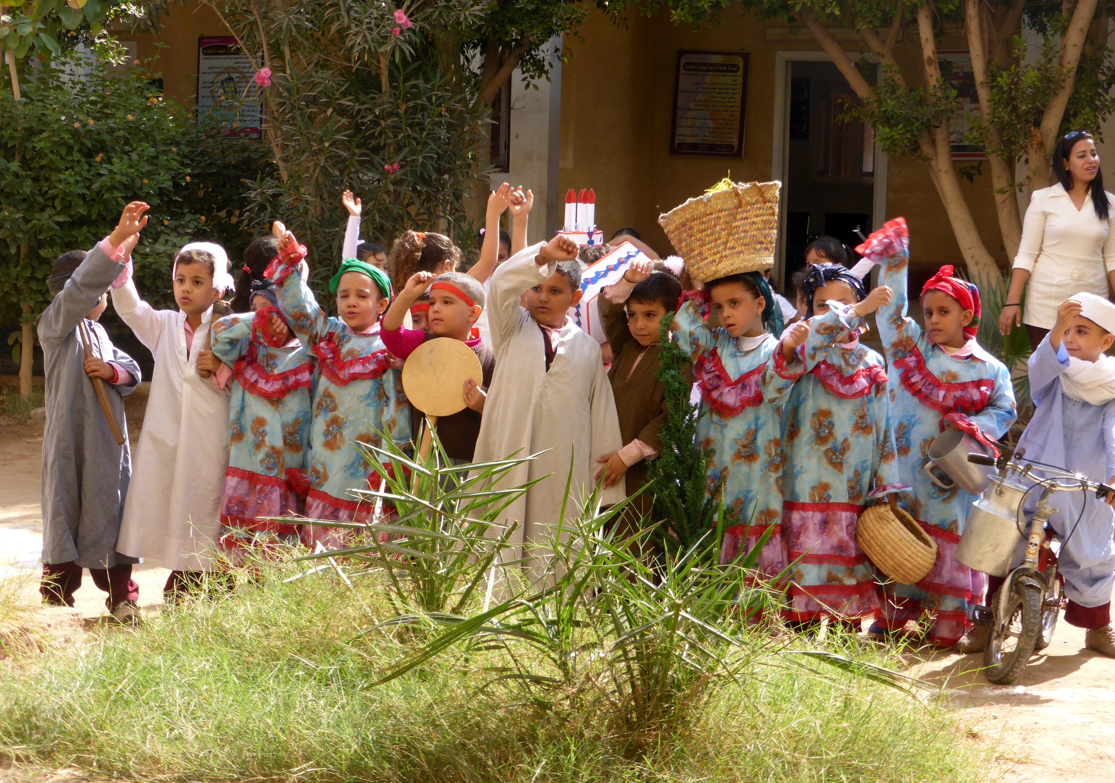 Accueil des Amis de la Haute Egypte à l'école de El-Ganayem